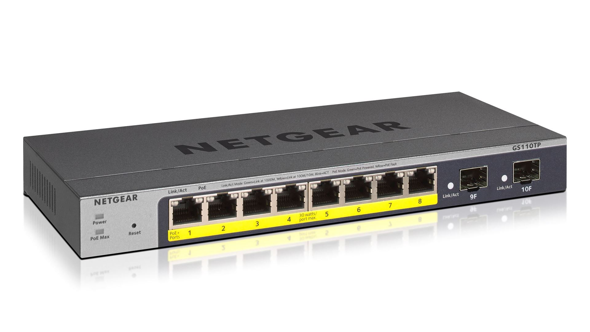 NETGEAR 8-port Gigabit PoE+ Ethernet Smart Managed Pro  Switch with 2 SFP Ports (GS110TPv3)