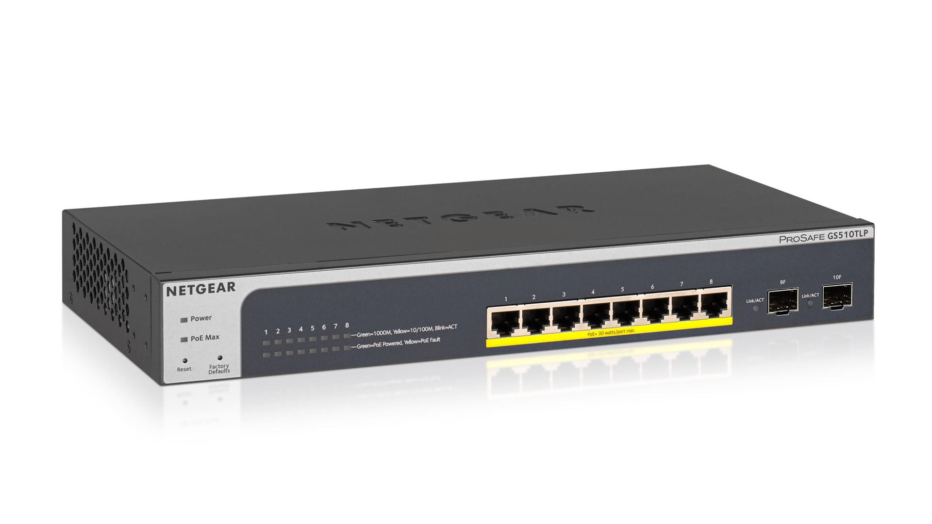 NETGEAR ProSAFE® 8-Port PoE+ Gigabit Smart Managed Switch with 2 SFP Ports (GS510TLP)