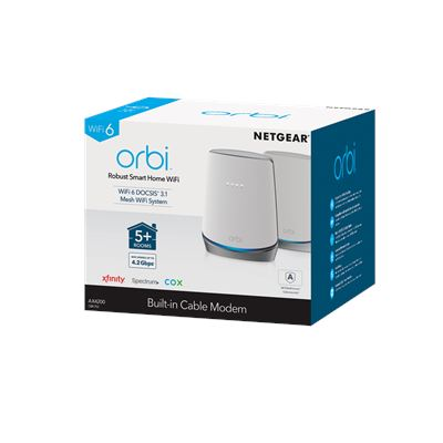 Orbi™ Whole Home WiFi 6 System with DOCSIS® 3.1 Built-in Cable Modem (2)
