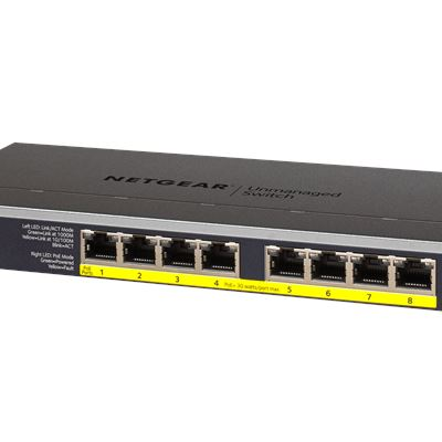 NETGEAR 8-Port Gigabit Ethernet PoEPoE + Unmanaged Switch GS108LP - Left