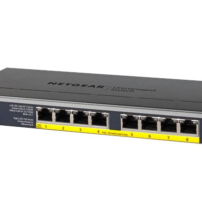 8-port Gigabit Ethernet Unmanaged High-Power FlexPoE PoE+ Switch with 8 PoE+ Ports (123W) - GS108PP - Left