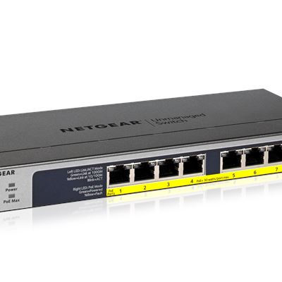 8-port Gigabit Ethernet Unmanaged High-Power FlexPoE PoE+ Switch with 8 PoE+ Ports (123W) - GS108PP - Hero