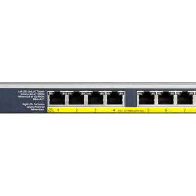 8-port Gigabit Ethernet Unmanaged High-Power FlexPoE PoE+ Switch with 8 PoE+ Ports (123W) - GS108PP - Front
