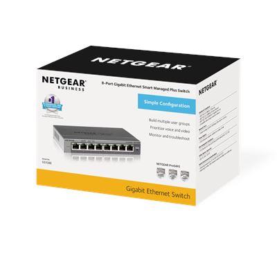 8-Port Gigabit Ethernet Smart Managed Plus Switch - Box
