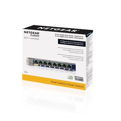 NETGEAR ProSAFE® 8-port Gigabit Smart Switch (GS108T) - 3D Box