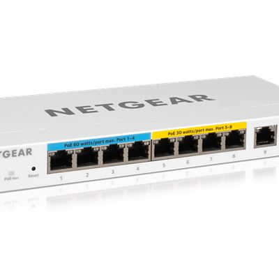 NETGEAR 10-Port Gigabit Ethernet Ultra60 PoE++ Smart Managed Pro Desktop Switch with 1 SFP and 1 Copper Uplink  - Hero