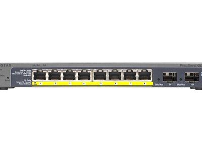 NETGEAR 8-port Gigabit PoE+ Ethernet Smart Managed Pro  Switch with 2 SFP Ports (GS110TPv3) - Front