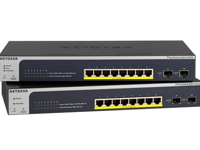 NETGEAR ProSAFE® 8-Port PoE+ Gigabit Smart Managed Switch with 2 SFP Ports (GS510TLP) - Front