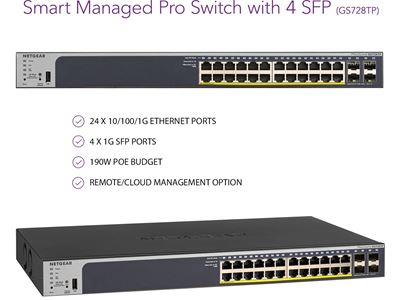 24-Port Gigabit Ethernet PoE+ Smart Managed Pro Switch with 4 SFP Ports and optional Insight Remote/Cloud Management (190W)