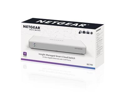 NETGEAR® Insight Managed 8-Port Gigabit Ethernet Smart Cloud Switch with 2 SFP Fiber Ports (GC110) - 3D Box