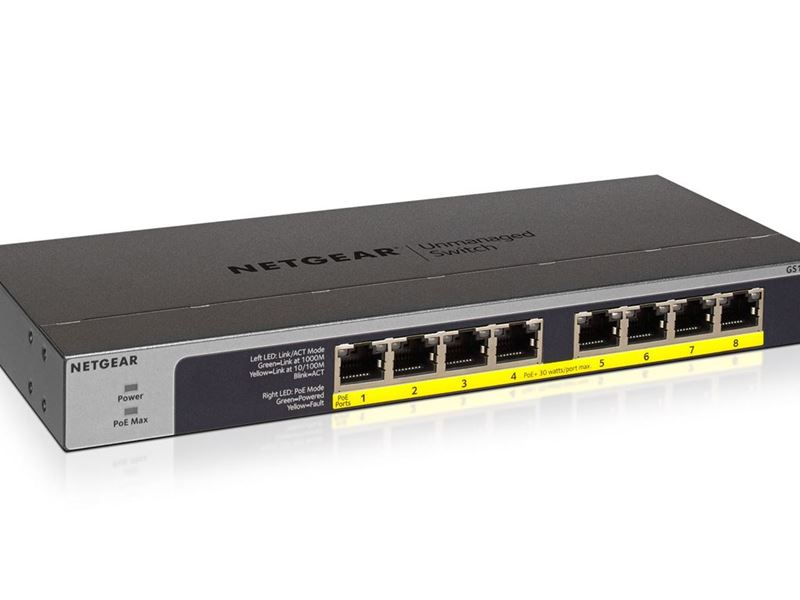 NETGEAR 8-Port Gigabit Ethernet PoEPoE + Unmanaged Switch GS108LP -  Main