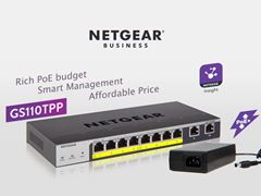 8-Port Gigabit PoE+ Ethernet Smart Managed Pro Switch with 2 Copper Ports and Cloud Management (GS110TPP)