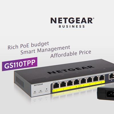 8-Port Gigabit PoE Ethernet Smart Managed Pro Switch with 2 Copper Ports and Cloud Management  GS110TPP