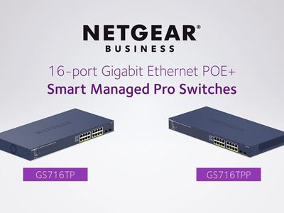 NETGEAR 16-port Gigabit Ethernet PoE+ Smart Managed Pro Switch with 2 SFP Ports and Cloud Management (GS716TP)