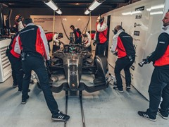 Video material and images of the Formula E car at the racetrack