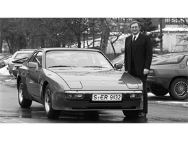 "Peter W. Schutz next to the Porsche 944 1982 at the ""Werk 1"" in Zuffenhausen"