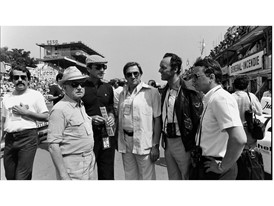 14.06.1981 in Le Mans, from the left: Ferry Porsche, Manfred Jantke, Peter W. Schutz, Norbert Wagner and Dr. Wolfgan