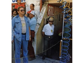 At the 24h of Le Mans 1981, in blue Peter W. Schutz, with straw hat and sunglasses Ferry Porsche