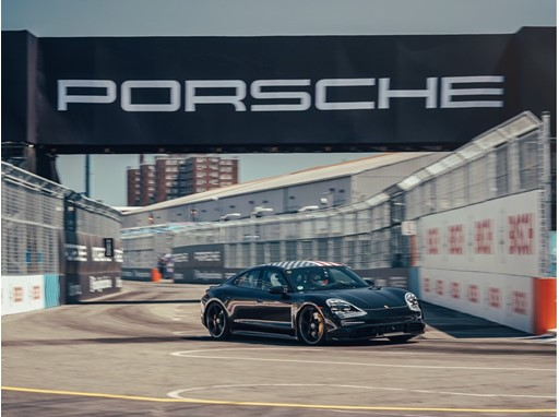 Porsche factory and Formula E driver Neel Jani is impressed by the performance of the Taycan on the racetrack in Brookly