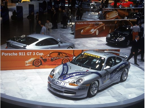 Geneva Motor Show 1999 Porsche 911 Cup from 1998, background: 911 GT3