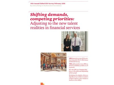 Skills shortage and speed of technological change of key concern to Financial Services CEOs