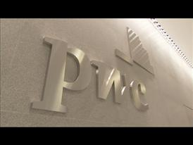 PricewaterhouseCoopers logo in an office, New York