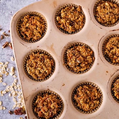 Spiced Carrot Cake Oats Muffins
