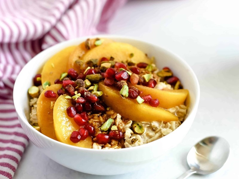 Peach Pomegranate Oatmeal Bowl