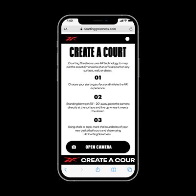 """Reebok's """"Courting Greatness"""" AR Tool - iPhone mock up solo 3"""