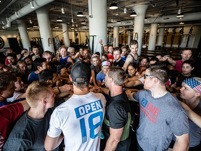 Chris Irwin, Navy SEAL Foundation, joins Reebok employees at the company's gym before a Memorial Day 'Murph' workout.