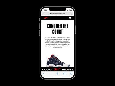 """Reebok's """"Courting Greatness"""" AR Tool - iPhone mock up solo 1"""