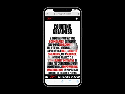 """Reebok's """"Courting Greatness"""" AR Tool - iPhone mock up solo 2"""