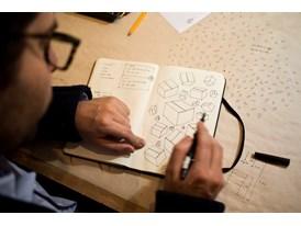 Mateo López drawing in his studio in Bogotá.