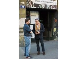 Theatre mentor Patrice Chéreau (right) and protégé Michał Borczuch after rehearsals for Brand. The City. The Chosen Ones