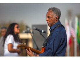 Mentor Gilberto Gil and his protegée Dina El Wedidi rehearse for their performance at the 5th Cairo Jazz Festival at Al-