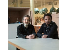 Olafur Eliasson, mentor and Sammy Baloji, protégé (right)