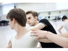 At the Chris Hellman Center for Dance in San Francisco, protégé Myles Thatcher (in black) directs a fellow dancer from t