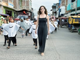Kerstin Forsberg takes part in a street parade to raise awareness of manta ray protection.