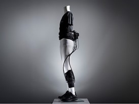 The exosuit displayed on a mannequin.
