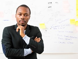 Oscar Ekponimo, software engineer, entrepreneur and Rolex Young Laureate, in his office.