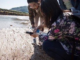 Christine Keung and colleagues test water from a river in Yanan, China.