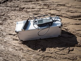 A water-quality monitor used by Keung and her colleagues, on the banks of a river near Yanan, China.