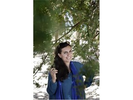 Young Laureate Sarah Toumi under a 20 year-old acacia tree in Tunisia.