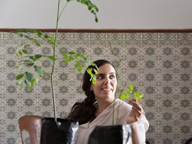 Sarah Toumi, Young Laureate and founder of Acacias for All, with moringa plants.