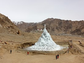 In late spring, the melting ice stupa provides water for crops.