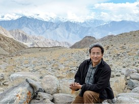 Laureate Sonam Wangchuk at 4,000 m in Ladakh, an area that suffers water shortages.