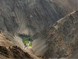 An irrigated valley in Lamaruyu, Ladakh, often called the moonland due to its barrenness.