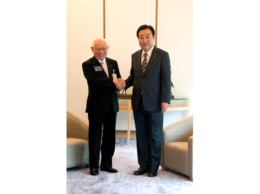 Rotary International President-elect Sakuji Tanaka and Japanese Prime Minister Yoshihiko Noda.