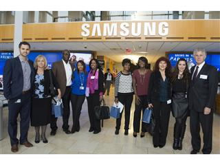 Proud Samsung employees and their parents at the start of their Bring In Your Parents Day