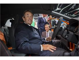 VW Group world ambassador, Jacky Ickx, and Design Director, Alejandro Mesonero with the SEAT Leon Cross Sport